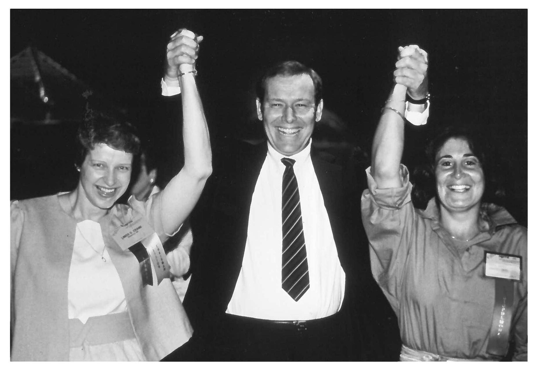 In February 1985, three physical therapists celebrate receiving the first advanced specialist certifications awarded. Left to right: Linda Crane; Scot Irwin; and Meryl Cohen. All three earned specialist certifications in cardiopulmonary physical therapy.
