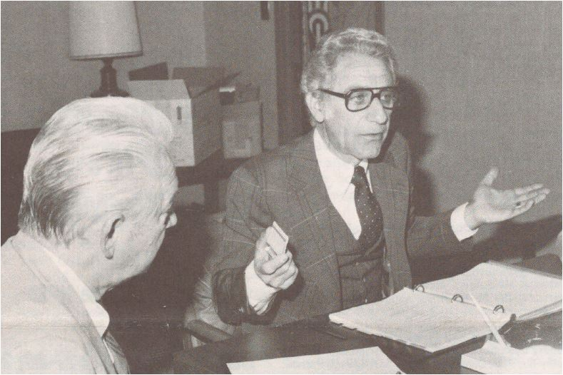 Former APTA President Charles Magistro assumes leadership of the Board of Trustees of the Foundation for Physical Therapy after his election as chairman of the Board. Trustee Kenneth Ludwig is seated at left. [Progress Report, 1979 (Nov); 8(10):1, 11.]