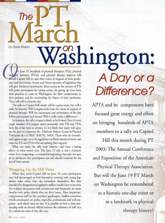APTA Hosts PT Day on Capitol Hill — a Physical Therapy March on Washington.