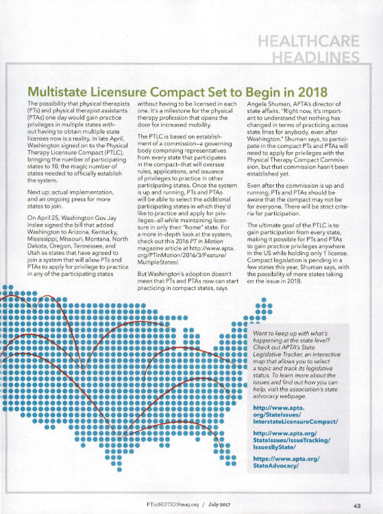 Physical Therapy Licensure Compact Launches with 10 Participating States.